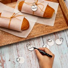 Add a personal touch to your baked goods with these Avery metal key tags. Check out more ideas at Avery.com. Bread Packaging, Key Tags, Printable Designs, Baked Goods, Packaging Design, Personalized Gifts, Sunglasses Case, Unique Gifts, Gift Wrapping