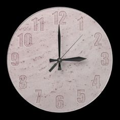 Pink marble wall clock with cut-out numbers by YANKAdesigns on Zazzle $24.95