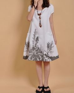 White linen dress cotton dress casual loose by originalstyleshop