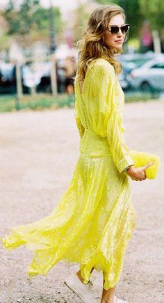 #street #fashion summer / long-sleeve yellow maxi dress Chiara Ferragni @wachabuy