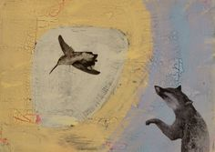 small fox with hummingbird - holly roberts