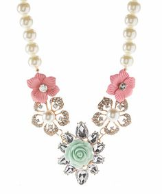 Another great find on #zulily! Coral & Turquoise Floral Faux Pearl Necklace by Valshi #zulilyfinds