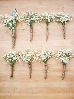 babys breath wrapped in twine as groom and groomsmen boutonnieres #babysbreath #rustic #boutonnieres http://www.weddingchicks.com/2014/01/21/vintage-southern-wedding/
