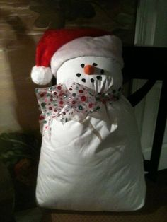 snow man - pillow, Santa hat, scarf