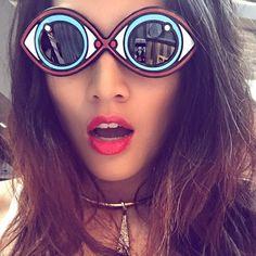 """Babe!  @tinaleung wearing her #Yazbukey x @lindafarrow """"eye spy"""" sunnies! ☀️ #rg #aw15 #andthewinneris ☀️"""