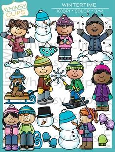 This fun Winter clip art set contains 58 image files, which includes 29 color images and 29 black & white images in png. All images are 300dpi for better scaling and printing.