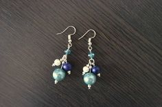 Winter Earrings Blue Earrings Beaded Earrings Blue Aqua