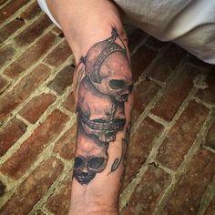 Nic LeBrun - Hear, See, Speak, No Evil Skulls Tattoo