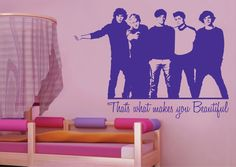 One Direction: What makes you Beautiful Lyrics Art Wall Sticker!! (Look at those faces, they are too perfect!!)
