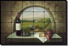 "Tumbled Marble Tile Mural Backsplash Ching Tuscan Vineyard 24""x16"" CHC090 | eBay"