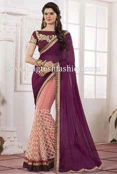 Classic Purple And Light Pink Chiffon And Net Saree