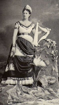 """Miss Edith May as Ireland. New York , 1875    """"Some Society Tableaux"""" by M.E.W Sherwood, Cosmopolitan magazine , Dec 1897."""