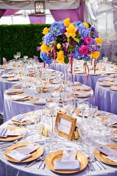 Concepts Event Design created a bold statement with fabric in shades of purple.