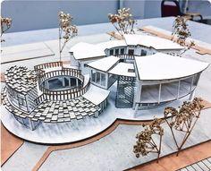 No photo description available. Concept Models Architecture, Maquette Architecture, Architecture Model Making, Architecture Concept Drawings, Architecture Magazines, Futuristic Architecture, Architecture Plan, Cultural Architecture, Building Design