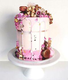Marguerite cakes. Vanilla and choc ganache cake with choc dusted popcorn and choc coated pop rocks