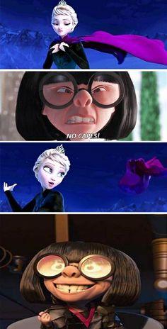 OMG: 20 Hilarious Frozen Memes That Will Make You Laugh Out Loud 〖 Disney Pixar Frozen Elsa The Incredibles Edna no capes funny 〗 Disney Pixar, Film Disney, Disney And Dreamworks, Disney Magic, Disney Art, Disney Movies, Disney Frozen, Frozen Movie, Disney Stuff