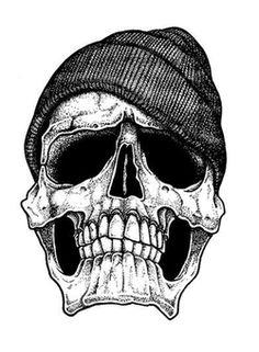 skulls art Black and White white hipster black