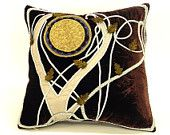 Lord of the Rings inspired pattern on Pillow,  plum Velvet Arwen's bedroom fairy tales middle earth decoration beautiful hobbit gift