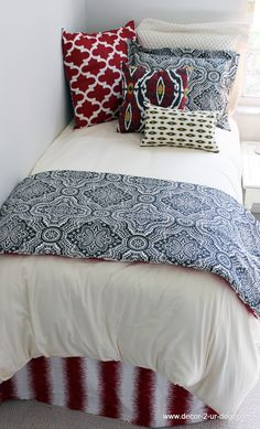 Red and Slate Grey Bed in a Bag Set. Designer headboard, custom pillows, exclusive bed scarf, window panels, wall art, bed skirts, twin/queen/king duvet and custom monogramming!! Perfect for college, apartment, or teen bedding!! Teen room makeover. Teen girl bedroom. Trendy teen bedding.