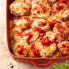 Eggplant Parmesan with baked eggplant, instead of fried. From Taste of Home/Healthy Cooking magazine Eggplant Parmesan with baked eggplant, instead of fried. From Taste of Home/Healthy Cooking magazine was last… Baked Eggplant, Eggplant Parmesan, Eggplant Recipes, Healthy Eggplant, Eggplant Dishes, Italian Dishes, Italian Recipes, Chefs, Food Dishes