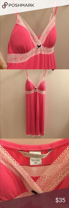 Victoria's Secret Nightgown Women's Victoria's Secret tank type nightgown with lace detailing. Hot pink with light pink lace detail. Size Small. Never been worn. No stains or rips or tears, comes from smoke/pet free home. Victoria's Secret Intimates & Sleepwear Pajamas