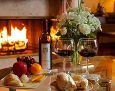 Sit in front of a fireplace, drink wine, have a little fruit, bread and cheese, and then a little romance...