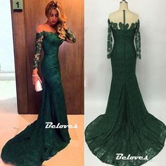 Dark Green Illusion Off The Shoulder Lace Mermaid Prom Dress With Long Sleeve
