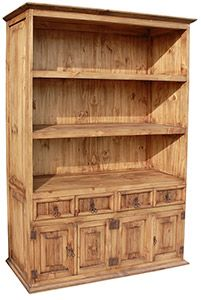 At only 15 inches deep, this rustic piece $644.40  hugs the wall.  Use it in the library for books, in the bedroom for your folded cashmeres, in the kitchen for dishes and cookbooks, or in the bathroom for towels.   Obviously, a bookshelf is not just for books anymore.  The drawers and cabinets at the bottom provide storage space for your more private items.  This very affordable piece of hand made southwestern furniture will be an asset in any room and with any dcor.