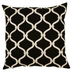 Cotton-linen pillow with a black and ivory trellis motif. Product: PillowConstruction Material: Cotton-linen blend coverColor: Black and ivoryFeatures:Made in IndiaInsert included Dimensions: 18 x 18     Cleaning and Care: Blot stains