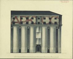 Arkos building proposal by the Vesnin brothers, 1924