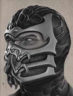 Impressive Graphite drawing of Skorpion. Mortal Kombat Scorpion, Mortal Kombat Tattoo, Sub Zero Mortal Kombat, Mortal Kombat 2, Skorpion Mortal Kombat, Claude Van Damme, Graphite Drawings, Comic Games, Marvel Art