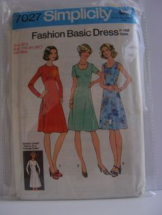 "Uncut Simplicity 7027 size 22.5 Basic Dress A-line collarless dress, princess seaming, back zipper Vintage Sewing Pattern Bust 45"" by StornowayVintageCo on Etsy"