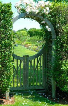 46 amazing pergola garden gate suggestions - gartentor-circular arch roses-with- - Diy Garden, Garden Cottage, Dream Garden, Garden Landscaping, Garden Oasis, Landscaping Design, Cozy Cottage, Garden Spaces, Shade Garden