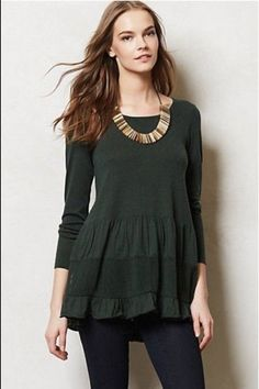 Anthropologie knitted and knotted tiered tunic/sweater in olive green