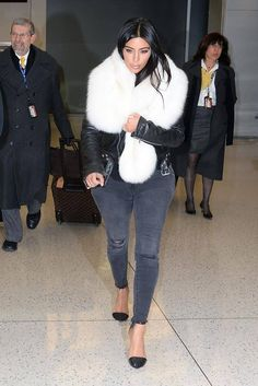Kim Kardashian landed in NYC last night in a fur stole. Get the look in today's style secret: