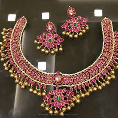 Gold Plated Pure Silver Necklace Designs, Gold Plated Antique Silver Necklace Designs, Gold Plated Antique Ruby…