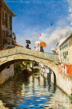 Il Naviglio a ponte San Marco (1880) - Giovanni Segantini