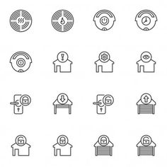 Smart home control system line icons set - Stock Vector , #ad, #control, #system, #Smart, #home #AD Garage Door Lock, Smart Home Control, Handwritten Script Font, Control System, Home Automation, Line Icon, Vector Graphics, Icon Set, Outline