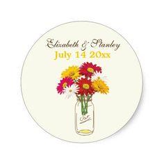 Mason jar & gerbera daisies wedding Save the Date Stickers