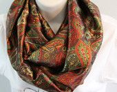 brown with print color infinity scarf cowl woman/girl multicolored scarf