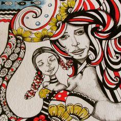 """Toda beleza si multiplica""  Rabisco de 2012 - coleção Muié Colores  www.jurossi.com.br  #GustavKlimt #sketch #doodle #tattoo #happy #drawart #illustration #MuiéColores #Pen #poema #poet #Marker #instadraw"