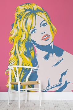 Brigitte Bardot was a french model, actress and singer. An iconic figure that was known as a sex symbol of the 60's. This wallpaper design portrays one of the most iconic photographs in during that decade, in bright and wonderful colours. Making for a vibrant wall mural that would make a great feature wall in modern room settings.