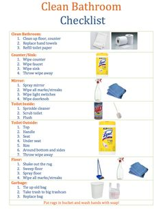Clean Bathroom Checklist for Kids - Cleaning Hacks Bathroom Cleaning Checklist, Diy Home Cleaning, Household Cleaning Tips, House Cleaning Tips, Diy Cleaning Products, Cleaning Bathrooms, Bedroom Cleaning, Clean Bedroom, Chores For Kids