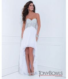 Tony Bowls 2014 Prom Dresses - White Beaded Strapless Sweetheart Pleated High-Low Gown hi low beach wedding dresss