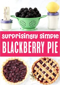 Easy Pie Recipes: Simple Blackberry Fruit Recipe for an AMAZING Pie! Making your own Homemade Fresh Blackberry Pie Recipe is so much easier than you think! Go grab the recipe and give it a try this week to become a kitchen superstar! Easy Summer Desserts, Easter Desserts, Easter Recipes, Easter Ideas, Fun Desserts, Delicious Desserts, Easy Pie Recipes, Fruit Recipes, Baking Recipes