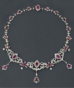 A Belle Epoque gold, silver, diamond and ruby necklace, century. Pink Diamond Necklaces, Silver Necklaces, Silver Jewelry, Silver Rings, Edwardian Jewelry, Antique Jewelry, Vintage Jewelry, Initial Pendant Necklace, Diamond Pendant Necklace