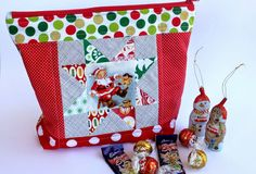 Sew Delicious: Christmas Star Block Zipper Pouch includes link to pattern for sawtooth star iin 3 sizes
