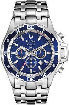 Te presentamos el exclusivo modelo #Bulova 98B163 Marine Star cronógrafo WR100, caja y malla de acero. Asegurado contra robo por Allianz.