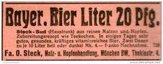 Original-Werbung/ Anzeige 1928 - BAYERISCHES BIER LITER 20 PFG. / STECK - MÜNCHEN  - ca. 75 x 20 mm