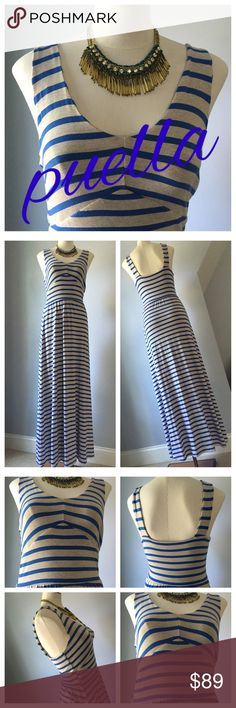 PUELLA Maxi Dress Fabulous fitting dress by PUELLA for Anthropologie. Royal blue stripes on gray. Cotton Lycra blend. Very comfy. Great for travel. Pristine. Tagged XS but fits XS - S. Anthropologie Dresses Maxi